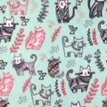 Anti-Pill Plush Fleece Fabric-Kitties on Mint