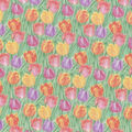 Easter Cotton Fabric-Watercolor Tulip Field