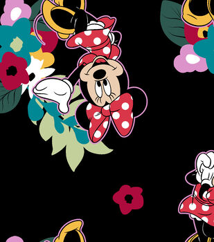 Disney Minnie Mouse Fleece Fabric-Floral Scenic