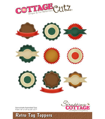 "CottageCutz Die-Retro Tag Toppers .7"" To 2.6"""