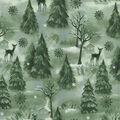 Christmas Cotton Fabric-Winter Forest Green Glitter