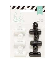 Heidi Swapp 6 Pack Bulldog Clips-Black & White, , hi-res