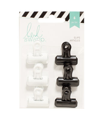 Heidi Swapp 6 Pack Bulldog Clips-Black & White