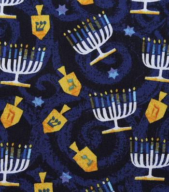 """Hanukkah Cotton Fabric 43""""-Tossed Menorahs & Dreidels"""