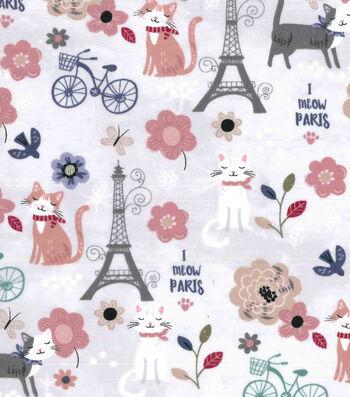 "Premium Prints Cotton Fabric 43""-Parisian Cats on Gray"