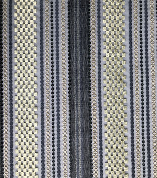 Lace Knit Fabric-Blue & Gold Stripes