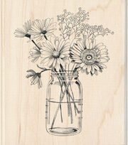 Inkadinkado 3.5''x4'' Wood Mounted Rubber Stamp-Floral Mason Jar, , hi-res