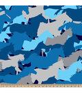 Blizzard Fleece Fabric-Camo Horses Blue