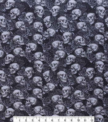 Halloween Warnings Skull Fabric Sewing Crafting Quilting