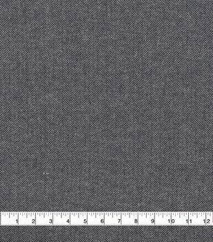 Plaiditudes Brushed Cotton Apparel Fabric -Navy & Gray Herringbone