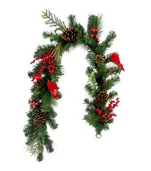 Handmade Holiday Christmas Pine, Pinecone, Red Cardinal & Berry Garland