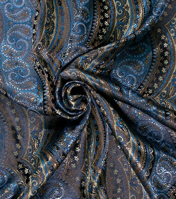 "Brocade Paisley Scallop Fabric 44""-Blue/Gold"