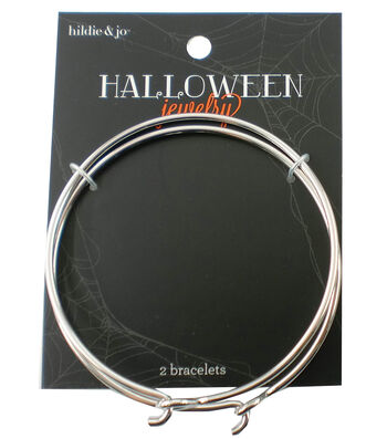 hildie & jo Halloween 2 Pack 7'' Silver Bracelets