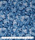 Keepsake Calico Cotton Fabric-Blue Glitter Packed Flowers