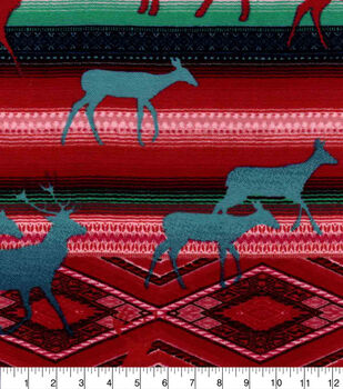 Snuggle Flannel Fabric-Red & Teal Deer & Aztec