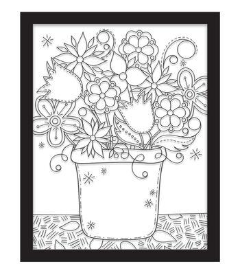 11x14 Color In Flower Pot Float Frame-Black