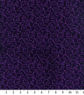 "Keepsake Calico Cotton Fabric 45""-Elegant Purple Vine"