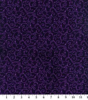 Keepsake Calico Cotton Fabric -Elegant Purple Vine