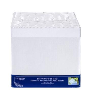 "8.7""x10.2""x9.7"" Satin Gift Card Box-White"