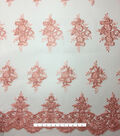 Corded Sequin Fashion Fabric -Desert Embroidered Flowers