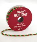 Maker\u0027s Holiday Christmas Twist Cord Ribbon 1/6\u0027\u0027x9\u0027-Green, Red & Gold
