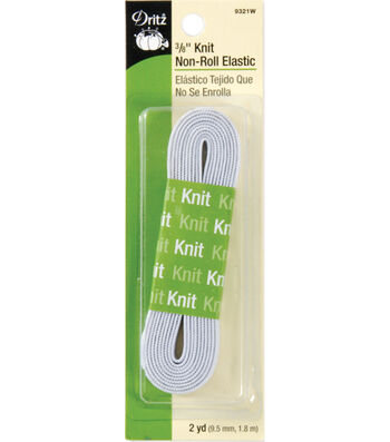 Dritz Knit Non-Roll Elastic 0.38''x2 yds.-White