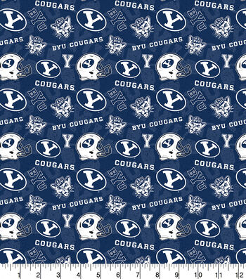Brigham Young University Cougars Cotton Fabric-Tone on Tone