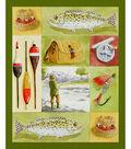 Novelty Cotton Fabric Panel 44\u0022-Gone Fishing