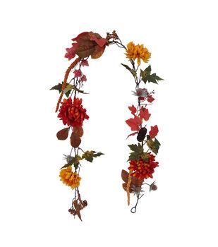 Blooming Autumn Mum & Berry Garland-Orange