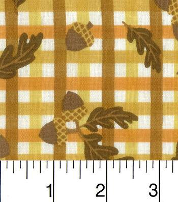 Harvest Cotton Fabric-Acorns On Plaid