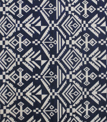 Earth Child Apparel Jacquard Fabric -Navy Aztec
