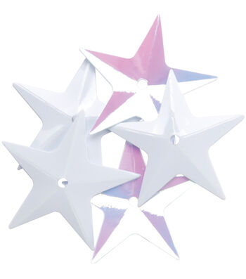 Sequin Star White Iris-12pk