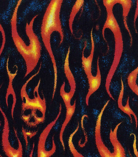 Lycra Flaming Skull  Print Fabric