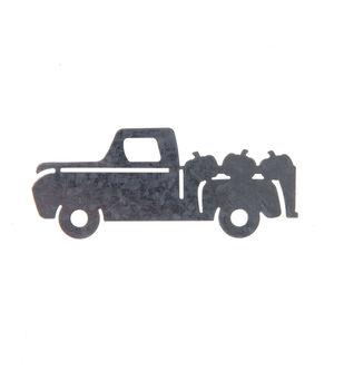 Simply Autumn Craft 3.9''x1.6'' Galvanized Pickup Truck Icon