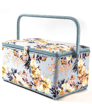 Extra Large Rectangle Sewing Basket-Floral on Gray