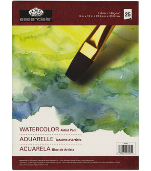"essentials(TM) Watercolor Artist Paper Pad 9""X12""-25 Sheets"