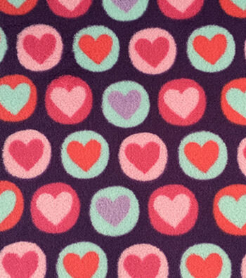 "Ultra Fluffy Fleece Fabric 57""-Purple Circle Hearts"