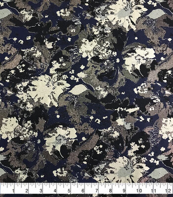 Brocade Fabric-Abstract Floral Blue Cream