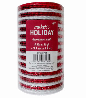 Maker's Holiday Decorative Mesh Ribbon 5.5''x30'-Red & White Stripes