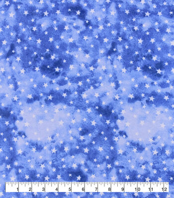 Snuggle Flannel Fabric-White Stars On Blue Watercolor