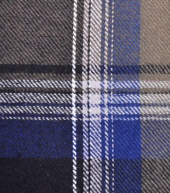 Cotton Shirting Fabric 42''-Gray, White & Blue Plaid