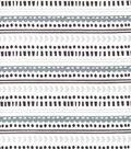 Nursery Flannel Fabric-Safari Gray Geo Stripe
