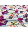 Modern Vintage Chiffon Fabric 57\u0027\u0027-Floral on Lavender Stripe