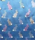 Satin Apparel Fabric 56\u0027\u0027-3D Bunny Tail Print