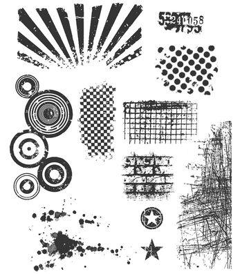 Tim Holtz Large Cling Rubber Stamp Set-Bitty Grunge