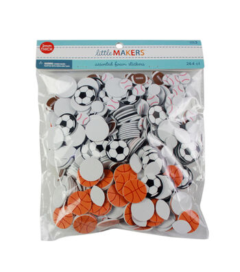 Little Makers Foam Stickers Sports Balls-Printed