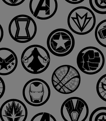Marvel Avengers Cotton Fabric 43''-Infinity War Badges