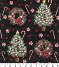 Christmas Cotton Fabric-Christmas Trees & Music