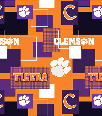 Clemson University Tigers Cotton Fabric -Modern Block