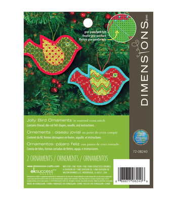 Dimensions 3.5''x5'' Jolly Bird Ornament Felt Counted Cross Stitch Kit